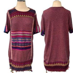 Zara Trafaluc Southwestern Pom Pom Dress
